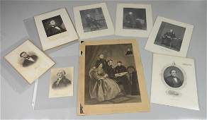 7 engraved portraits including 2 Abraham Lincoln