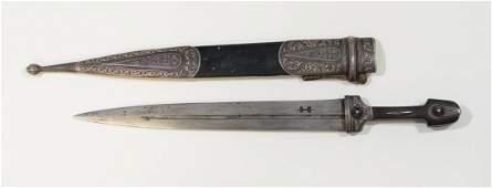 Imperial Russian Cossack dagger kindjal, silver niello
