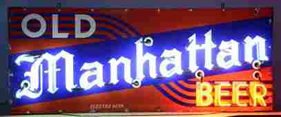 Large Old Manhattan Beer Sign, Enameled Metal & Neon,
