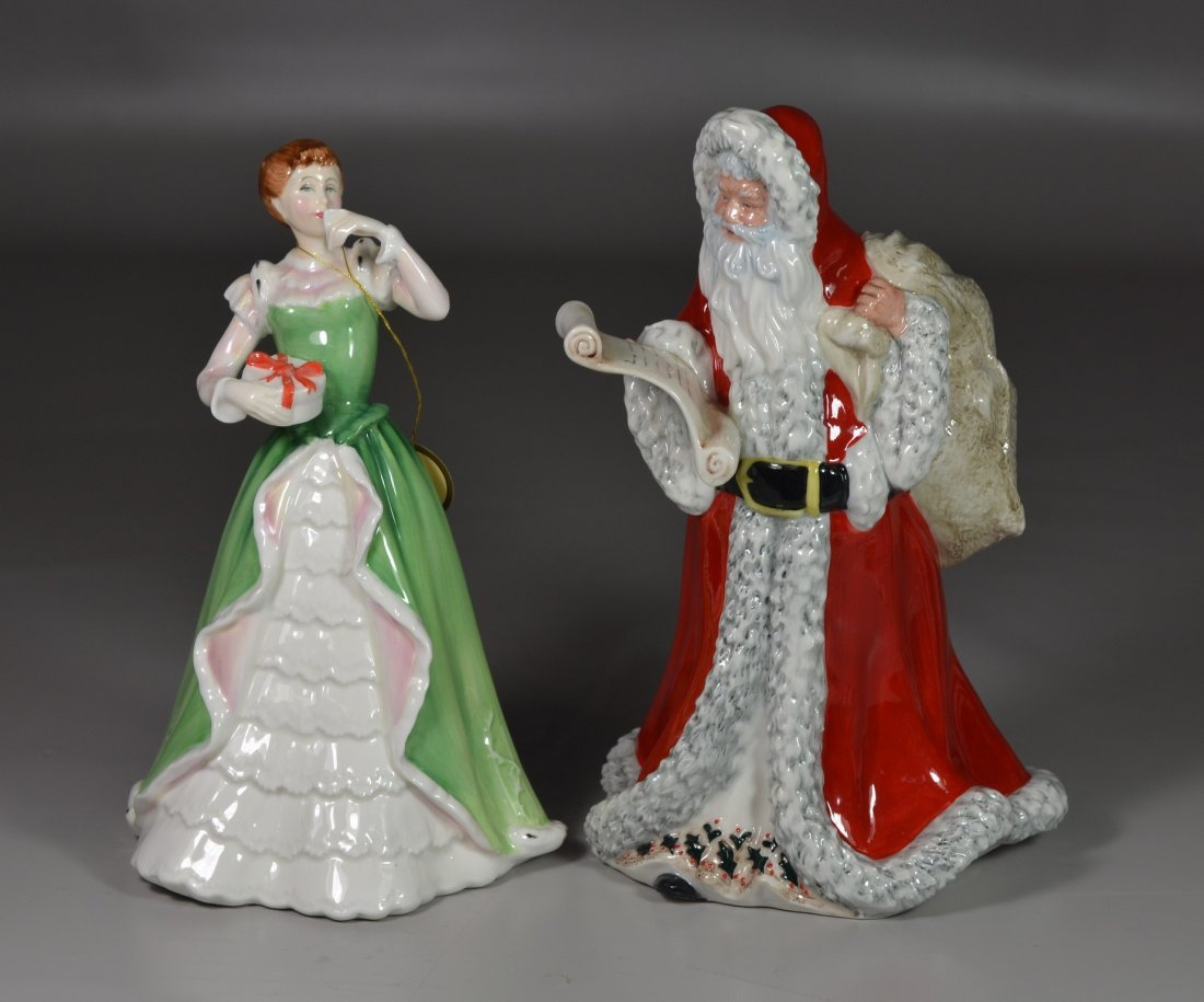 (2) Royal Doulton bone china figurines, Merry Christmas
