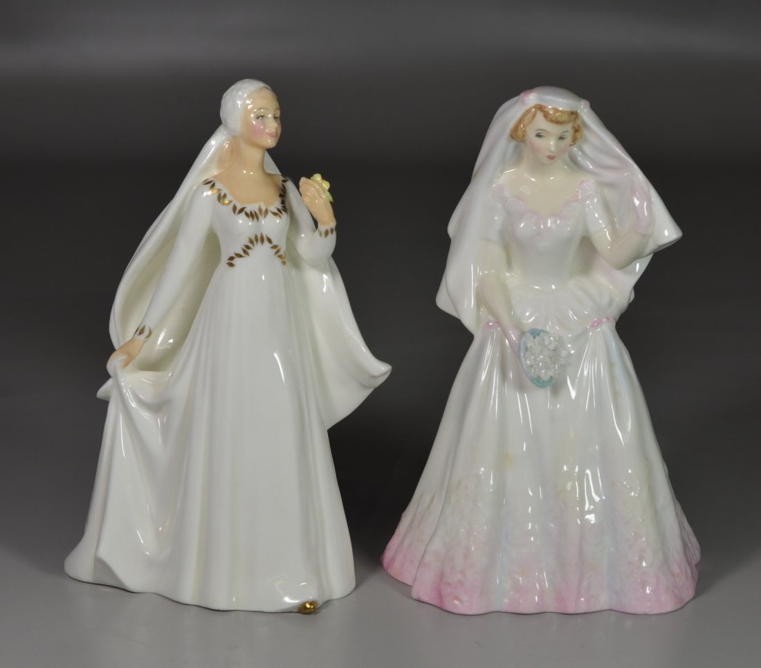 (2) Royal Doulton Bride bone china figurines, HN 2166,