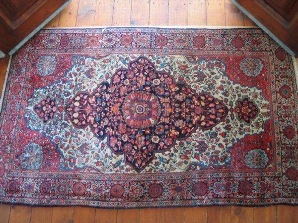 """2: 3' 10"""" x 6' 5"""" antique Sarouk carpet.  *HFH."""