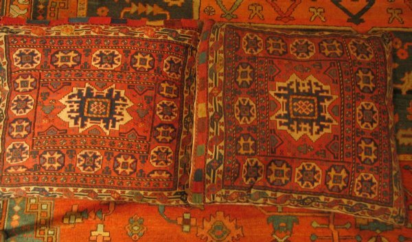 14: Pair of pillows made from flat woven Turkish saddle