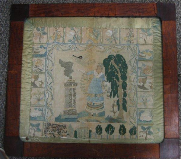 213: Needlework mourning sampler, Priscilla Setzler, Mr