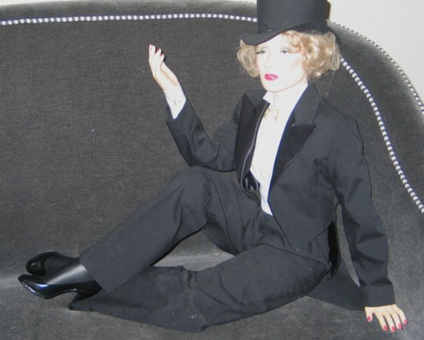 299A: Ceramic Marlene Dietrich doll dressed in tuxedo a