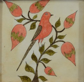 American Fraktur, Watercolor On Paper, Bird On Branch,