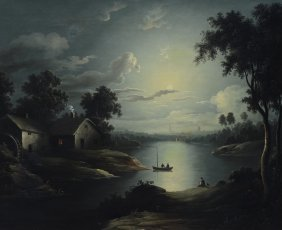 British School (19th Century), Oil On Canvas, Moonlit