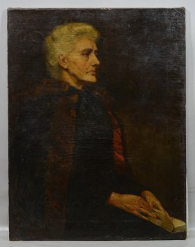 American School (19th Century), Oil On Canvas, Portrait