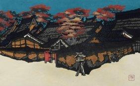 Kam Kamado (japanese, 20th Century), Color Woodblock,