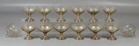 12 Sterling Silver Wallace Sherbet Cups With 16 Glass