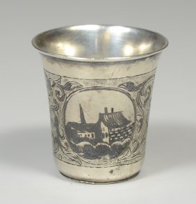 Imperial Russian Silver Niello Decorated Kiddish Cup
