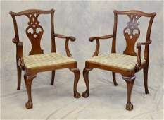 Pr reproduction mahogany Chippendale style armchairs,