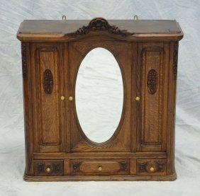 Continental Carved Oak Hanging Cabinet, Bifold Double