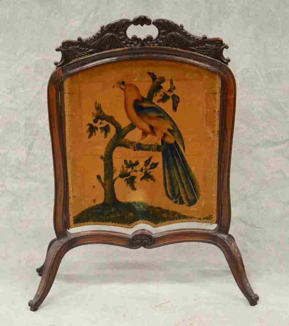 Carved rosewood fire screen, hand painted screen panel