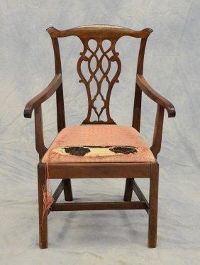 Mahogany Chippendale Armchair, Pierced Gothic Splat,