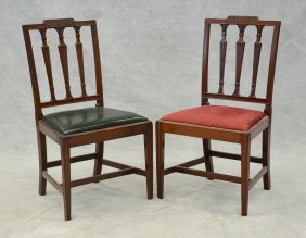 Pair Of Carved Mahogany Sheraton Dining Room Chairs,