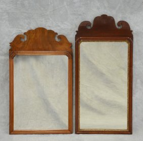 (2) Mahogany Chippendale Wall Mirrors With Scalloped