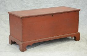 Red Painted Pine Blanket Chest With Bracket Feet,