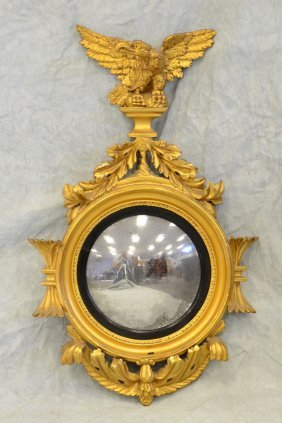 Carved Gilt Wood Girandole Mirror With Spread Wing