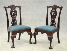 Pair of carved mahogany replica Philadelphia