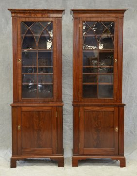 Pair Of Mahogany Georgian Style Two-piece Display