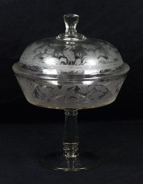 Pressed Glass Covered Compote With Etched Exotic Bird
