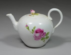 """Meissen Small Teapot With Minute Chip To Edge, 4-1/2"""" H"""