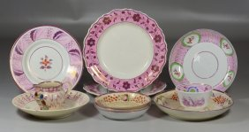 11 Pieces Of English Pink Luster China To Include Pair