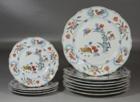 """11 Pieces Of Havliand Limoges """"golden Quail"""" China To"""