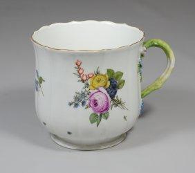 Meissen Porcelain Bell Shaped Mug, 3 Dimensional Floral