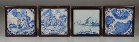 (4) Framed Delft Blue & White Tiles, Matthew 25:v181