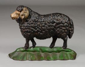 "Cast Iron Ram Doorstop, Original Paint, 9-1/4"" W X 7"" H"