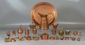 26 Pieces Miniature Copper Tableware Including Pots,