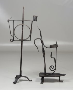2 American Wrought Iron Adjustable Candle Holders,