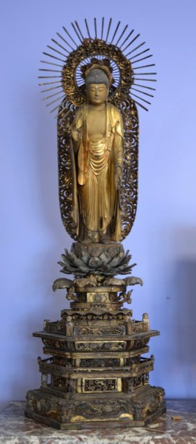 Carved And Lacquered Japanese Buddha On Ornate