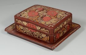 """Japanese Carved Lacquer Box And Undertray, Tray 8"""" X"""