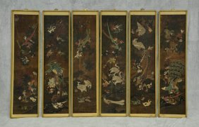 Six Framed Chinese Painted Silk Panels Depicting Birds,