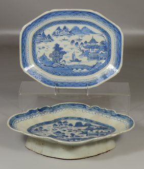 Two Pieces Of Chinese Export Canton Pattern Porcelain