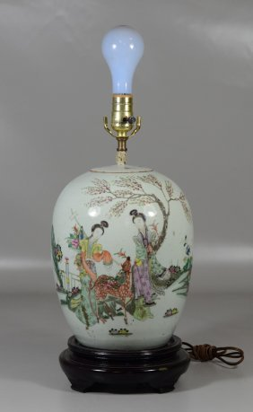 Chinese Ginger Jar With Maiden And Deer, Mounted As A