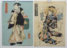 (2) Japanese Woodblock Prints: Teisai Sencho (japanese,