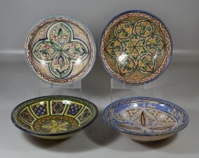 4 Moroccan Faience Earthenware Bowls, Geometric And