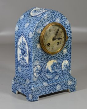 Blue And White Transfer French Porcelain Shelf Clock In