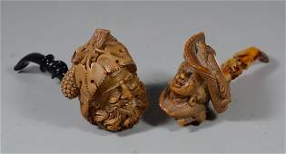 Group of 2 figural carved Meerschaum pipes mountain