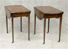 Pair of Beacon Hill inlaid mahogany Pembroke tables