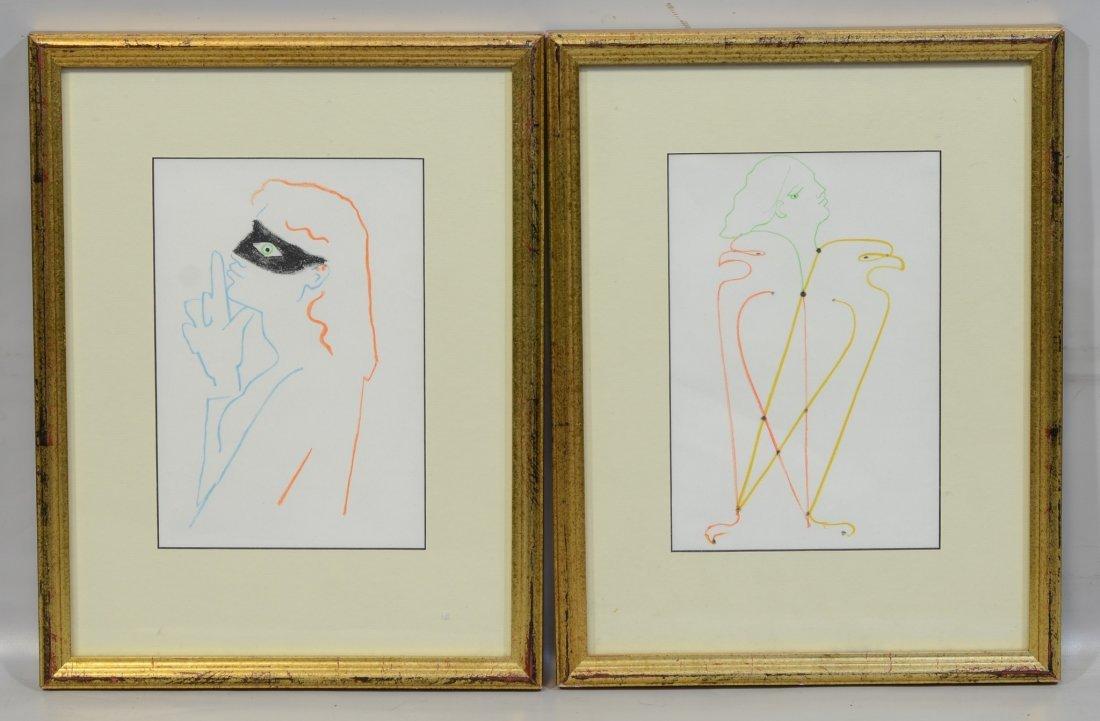 """(2) Jean Cocteau (French, 1889-1963), lithograph, """"La"""