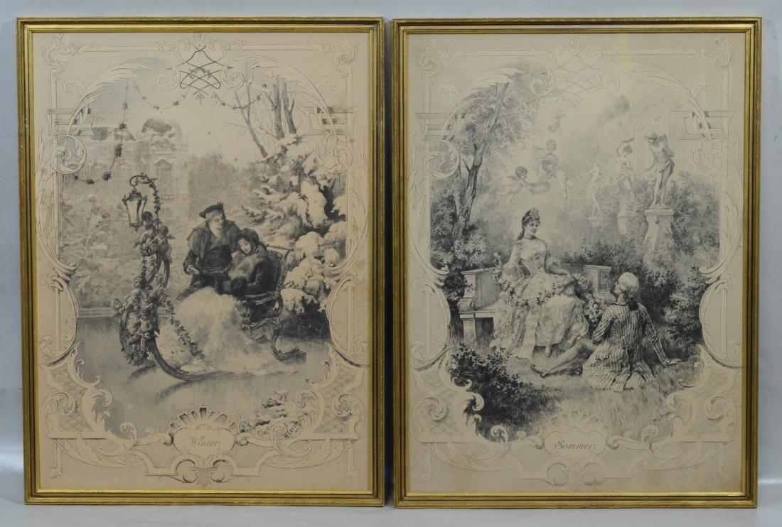 (2) Heinrich Lefler (Austrian, 1863- 1919), engravings,