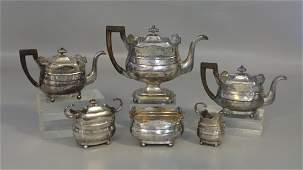6 pc American coin silver tea service by Brown & Seal,
