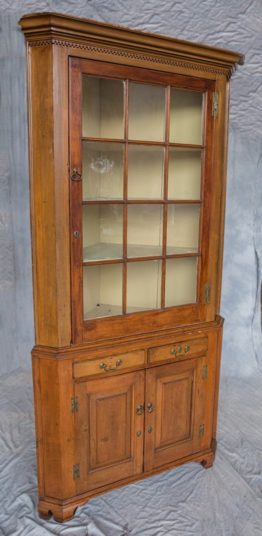 2-Piece American Federal cherry corner cupboard, top