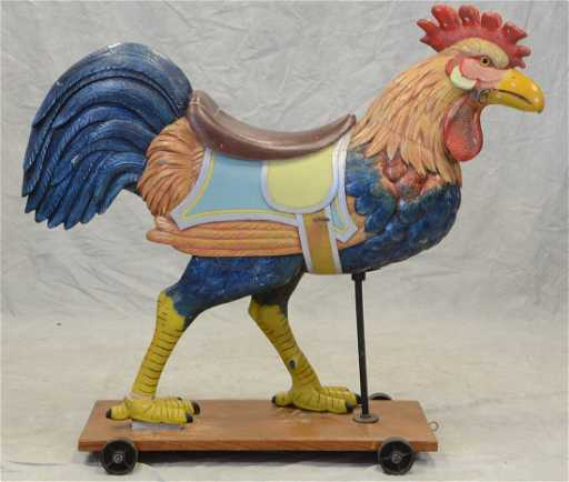 Carved And Painted Wood Dentzel Carousel Rooster C