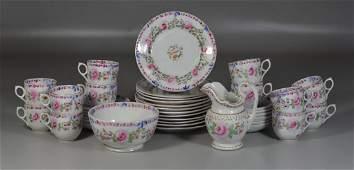 38 pc English Staffordshire pottery partial tea set to